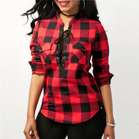 Lace Up Plaid Long Sleeve Women Shirt Fashion Red Black Plaid Blouses New 2018 Women Flannel