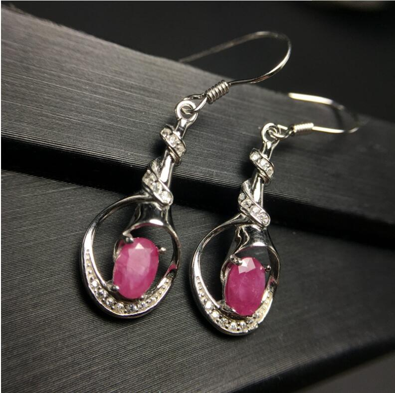 все цены на Natural ruby stud earring Free shipping Original real ruby 925 sterling silver Ruby Earring 4*6mm онлайн