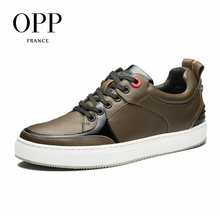 OPP 2017 Men Shoes Loafers For Men Cow Leather Flats Shoes Casual Shoes Chain Loafers footwear for Men Lace up Flats