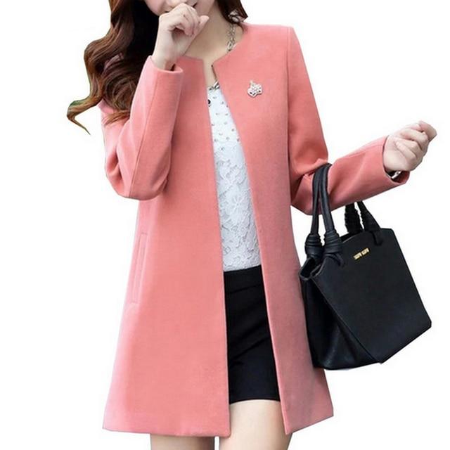 Модные с круглым вырезом и длинными рукавами Для женщин пальто S-XXL одноцветное Цвет Casaco Feminino Свободный кардиган осень 2017 г. Тонкий тонкая верхняя одежда