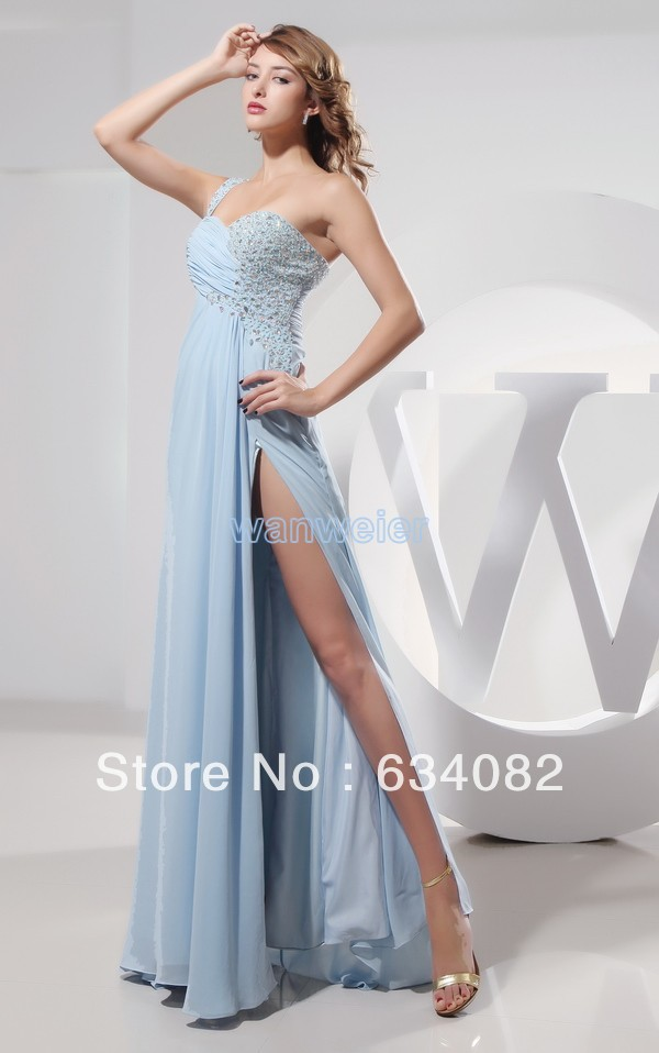 free shipping   prom   long 2014 rhinestone trumpet sexy nude crystal   dress   long chiffon coral   dress   one shoulder emerald   prom     dress