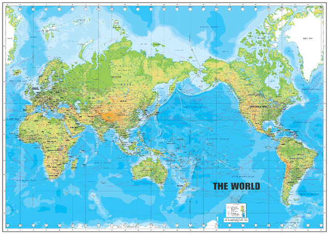 P0438 world map poster large detailed physical map of the world p0438 world map poster large detailed physical map of the world movie posters free shipping 24x36 gumiabroncs Choice Image