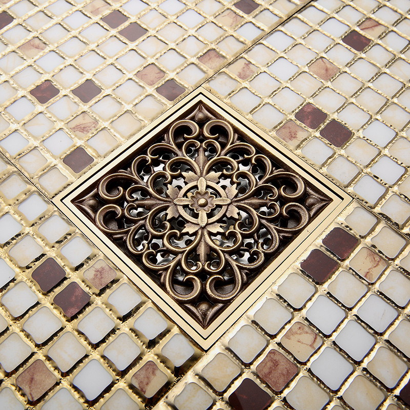 Free Shipping Wholesale and Retail Antique Brass Art Carved Flower Bathroom Floor Waste Grate Shower Drain Drainer free shipping high quality antique brass carved flower art bathroom accessory floor drain waste grate100mm 100mm yt 2110