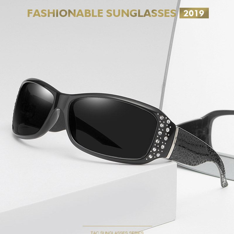 MIZHO 2020 Plastic Polaroid UV400 Sunglasses Women Luxury Brand Sexy Crystal Trendy Ladies Retro Goggle Polarized Driving Shades