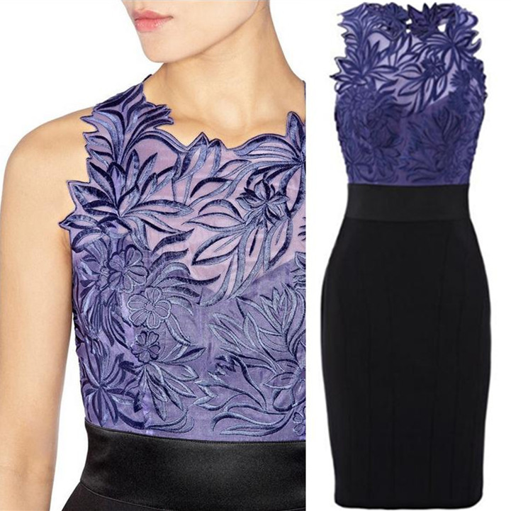 summer dress Silk Organza Embroidered Lace One piece Women ol pencil Dress Free Shipping