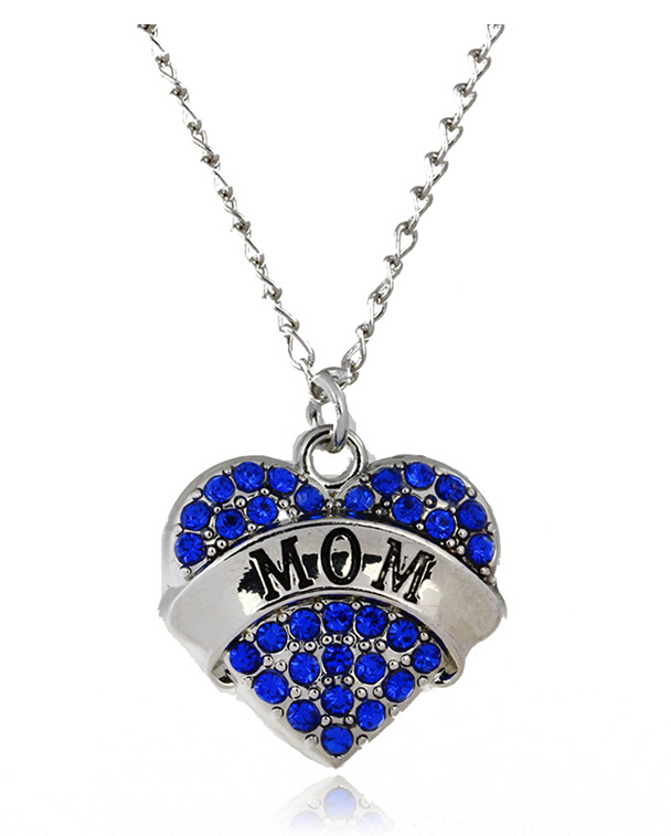 Jewelry Fashion Silver Tone Crystal Rhinestone Mom Heart Word Necklace For Women Family Member Jewelry