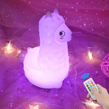 Alpaca LED Night Light Touch Sensor 9 Colors Remote Control Dimmable Timer USB Cartoon Silicone Lamp for Children Kids Baby Gift