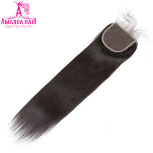Amanda Malaysia Straight Hair Lace Closure With Baby Hair 100% Human Hair 4''x 4'' Free Part Remy 8-24 Inch