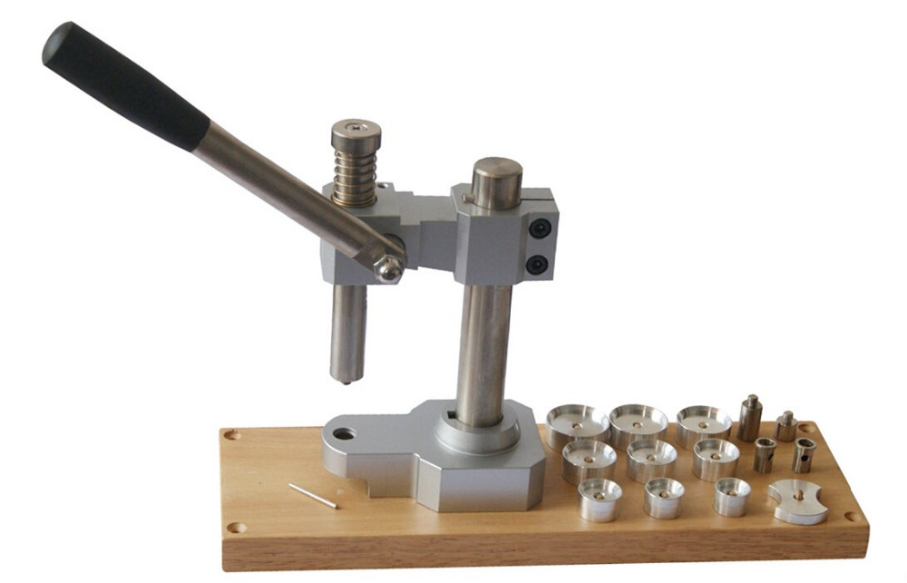 Watch Case Presser Tool on Wooden Board Added 10 Widened Dies Watch Crystals presser Watch Tools