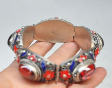 7.88 inch/Chinese ancient palace in Tibet silver cloisonne inlaid ruby bracelet