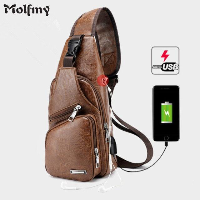 New Arrival Men s USB Charging Chest Bags Men Messengers Bag Wateproof PU leather Crossbody Shoulder bags