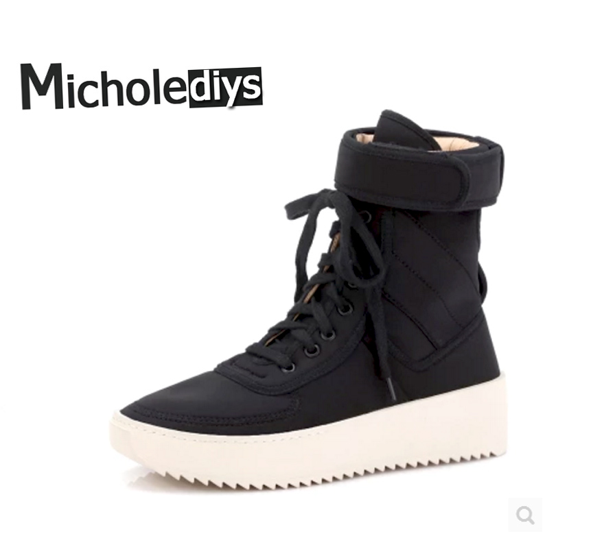 Micholediys Handmade Winter Military High Army Boots FOG Motorcycle Shoes Platform Justin Bieber Nubuck Leather Hiking Sneakers