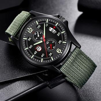 цена на Military Nylon Waterproof Date Quartz Analog Army Men's Quartz Wrist Watches Men's watch Wrist Party decoration suit Dress Watch