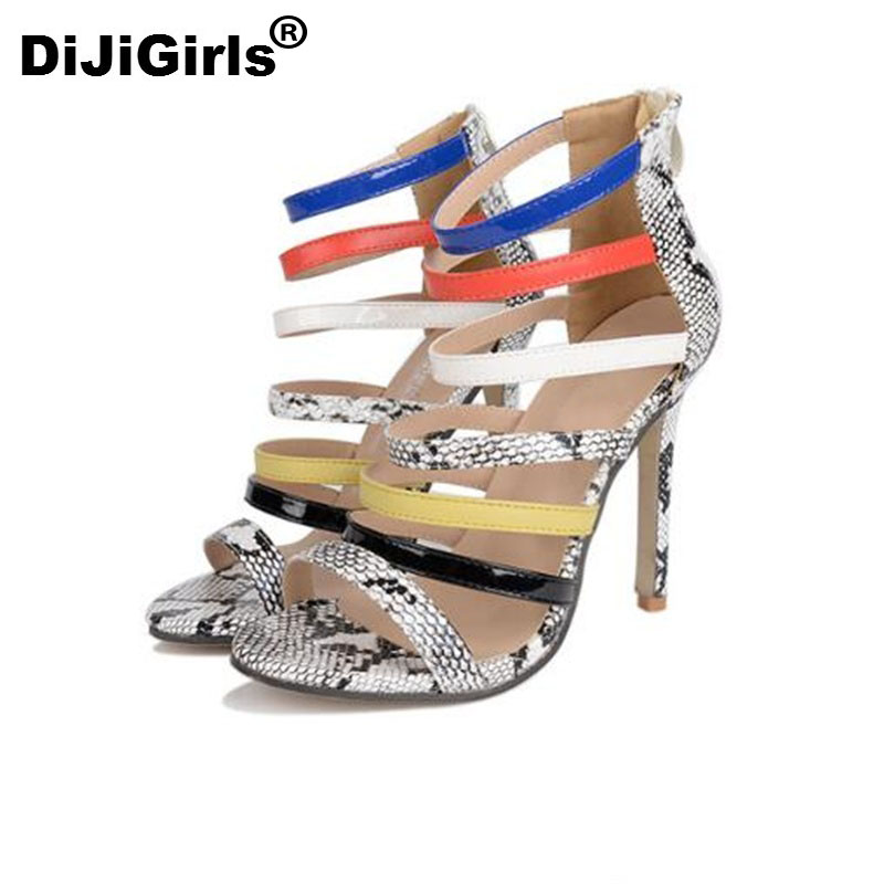 DiJiGirls Roman striped high heels high quality sexy ladies sandals new style female pump roma fetish shoes woman free shipping high quality pump wbz 25