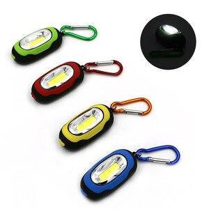 Image 2 - Портативный мини брелок фонарик, 4 шт., 3 режима, ручной светодиодный светильник COB для наружного использования с аккумулятором CR 2032 для кемпинга, палатки, рыбалки