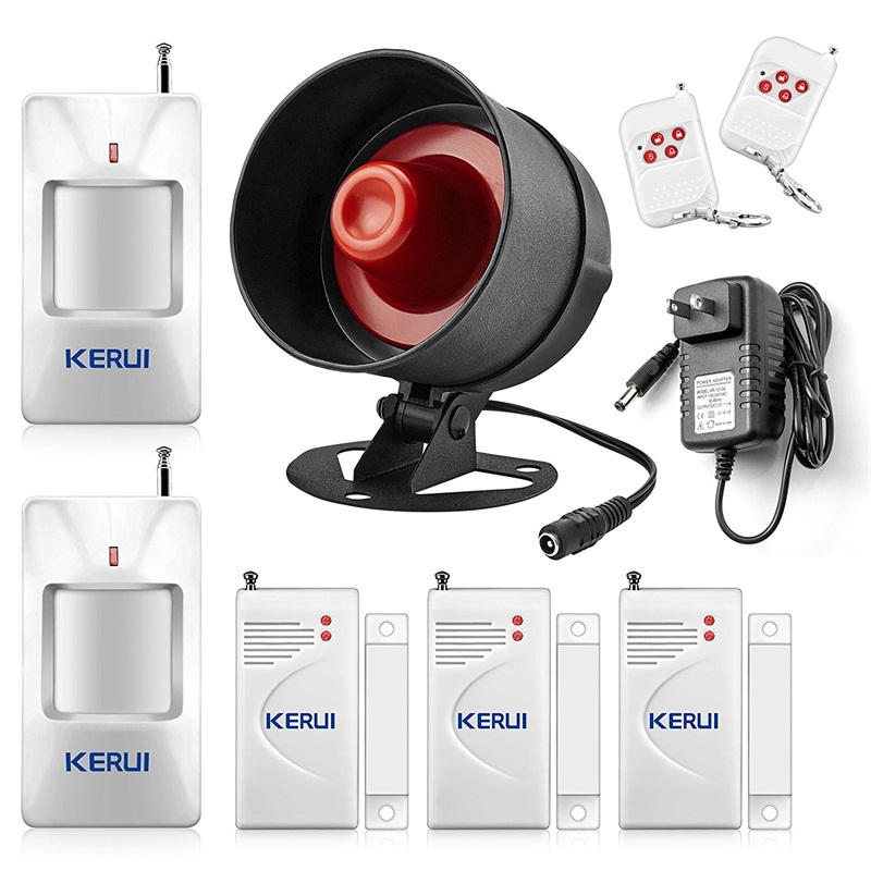 KERUI Security Alarm System Indoor Outdoor Weather-Proof Siren Window Door Sensors Motion Sensor Alarm With Remote Control
