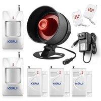 KERUI Security Alarm System Indoor Outdoor Weather Proof Siren Window Door Sensors Motion Sensor Alarm With Remote Control