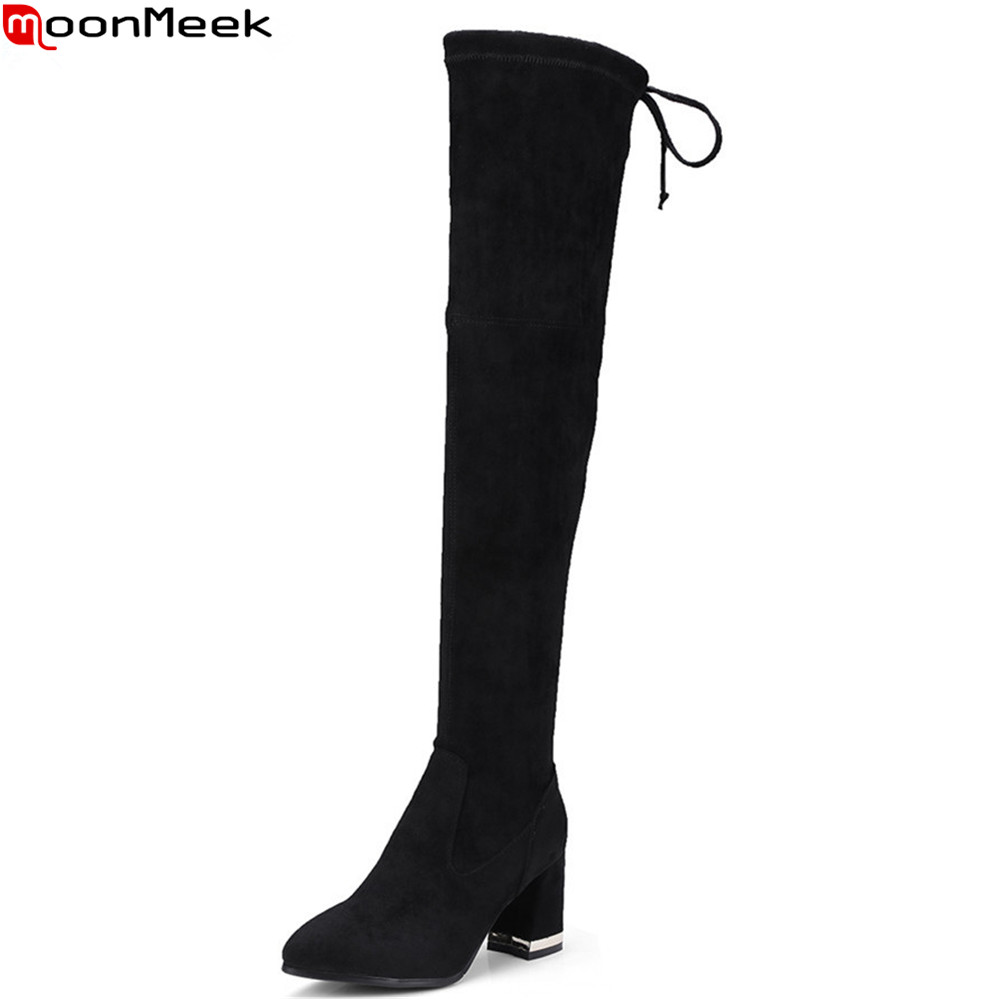 MoonMeek 2018 new arrive women boots pointed toe ladies cow suede black cross toed square heel autumn winter over the knee boo ...