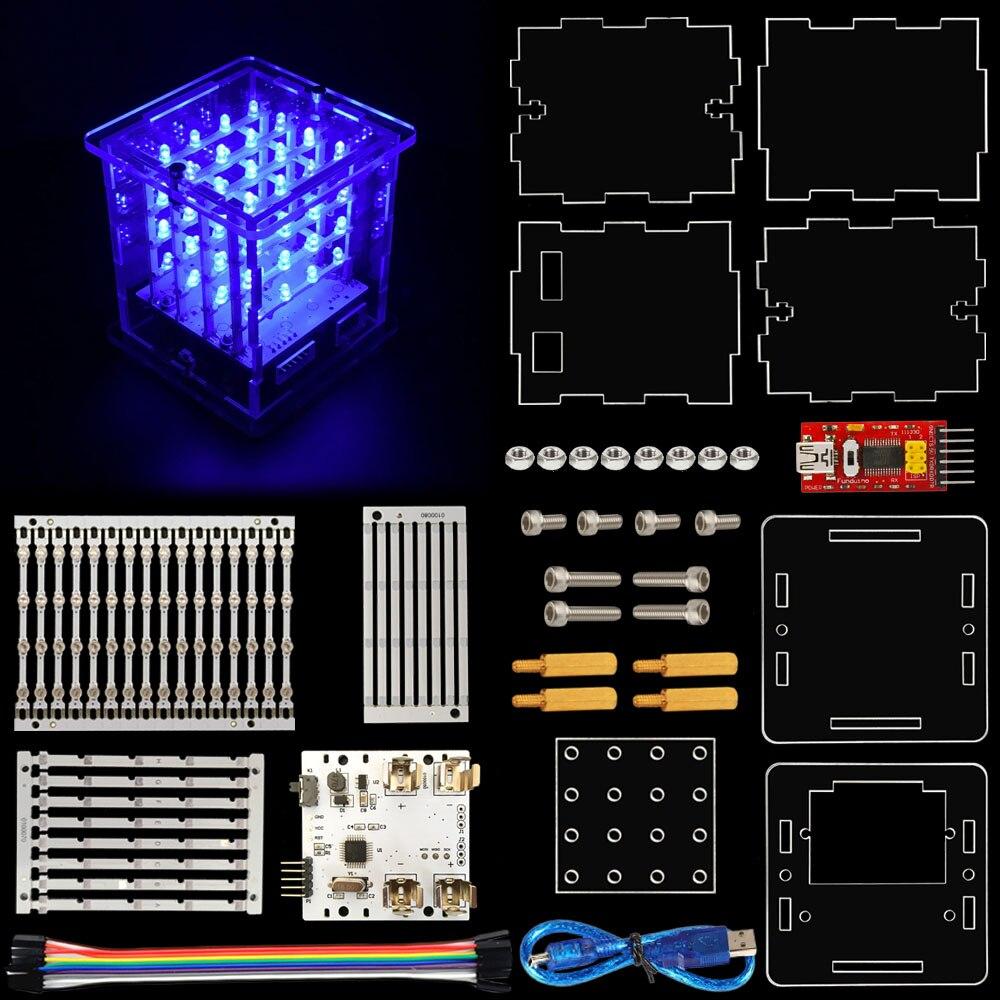 2017 NEW! keyestudio 4x4x4 LED Cube Kit with Arduino+ User Manual
