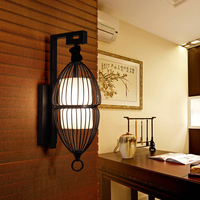 Chinese black wall lamp simple living room study bedroom bedside balcony staircase aisle lamp cage lamps ZA882