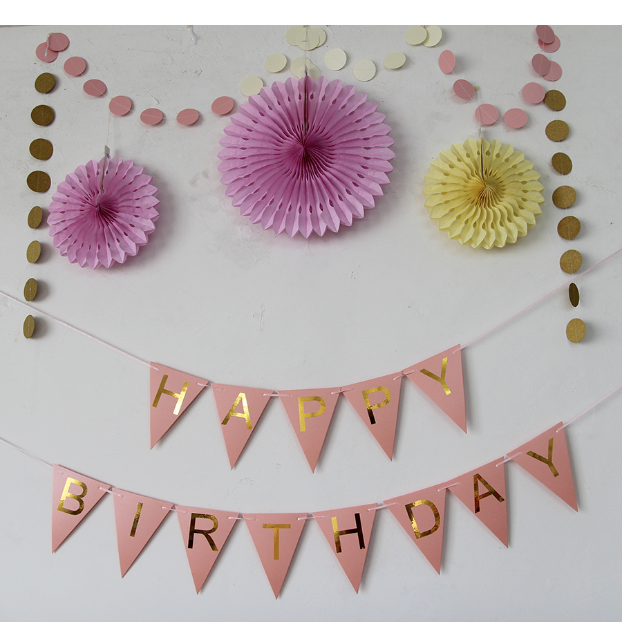 Birthday Banner Paperboard Happy Party Decoration Flag ...