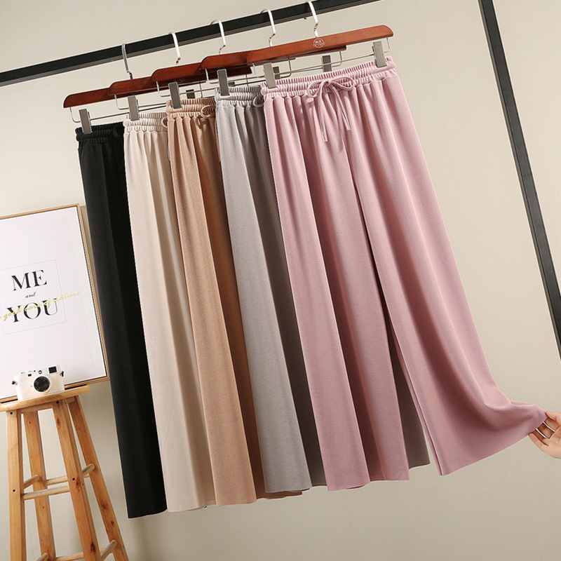 Ice Silk Thin Knitted Wide Leg Pants Summer High Waist Ankle Length Women Pants Loose Chiffon Straight Tube Pant Casual Trousers