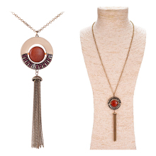 Ethnic Beads Necklace Hollow Long Chain Necklace Gold Plated Tassel Statement Pendants Necklace
