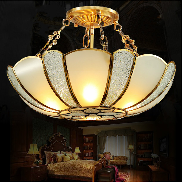 Copper lamp full copper lamp american fashion modern brief romantic study light ceiling light