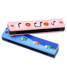 Creative toy 16 hole children wooden painted harmonica enlightenment early education musical instrument