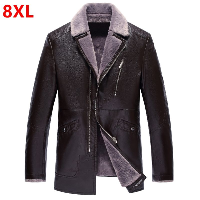 Winter large size PU leather dolls men and middle-aged men plus cashmere thick winter jacket jacket