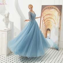 Light Blue A Line Evening Dress V Neck Luxurious Sequined Beading Formal Elegant Three Quarter Sleeve Long Gowns robe de soiree