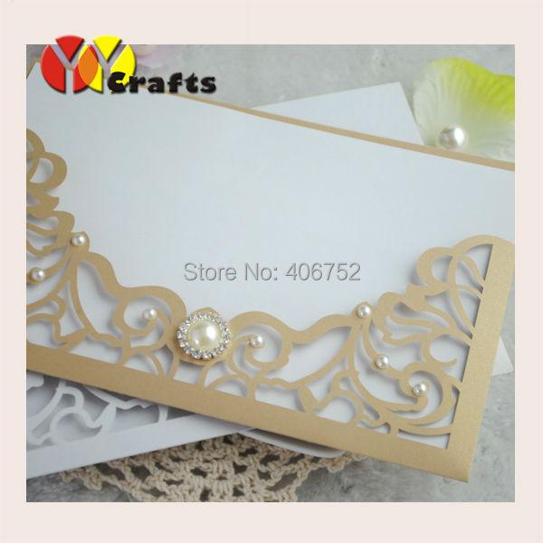 Luxury Unique Pocket Fold Invitations Beige Gold Modern Wedding Invitation  Cards(China (Mainland)