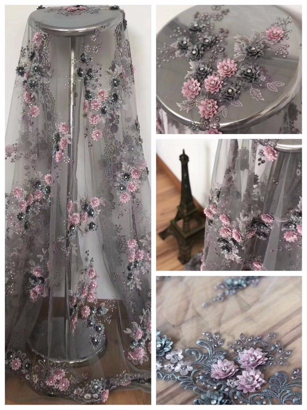 Dentelle tissu 3D fleur français dentelle tissu filet brodé Appliques dentelle pour mariage ZLN48
