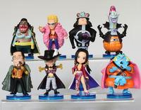One Piece Boa Hankokku Mihawk Doflamingo Kuma Teach Jinbe PVC Figure Toys 8pcs/set 6-8cm Free Shipping