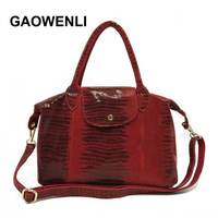 GAOWENLI Brand 2018 Genuine Leather Luxury Serpentine 100 Real Cow Leather Elegant Multi Functional Big Shoulder