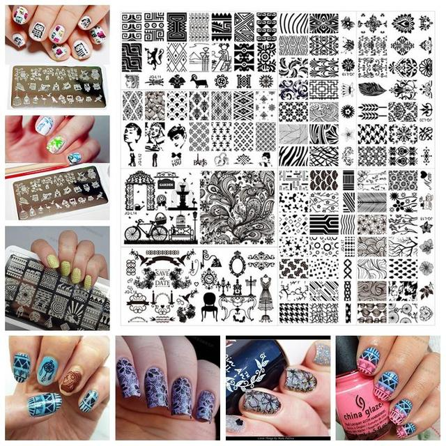 612cm Stainless Steel Nail Art Stamping Plates Geometric Patterns