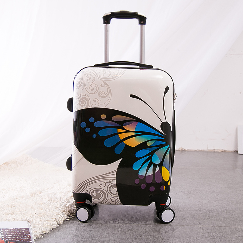 Wholesale!12 24inches pc hardside case trolley luggage set,butterfly travel luggage for women,universal wheels box