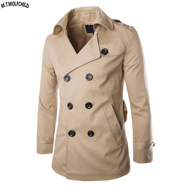 Style Trench Slim Casual Vêtements Coton Double khaki Boutonnage Mode Mens black Hommes Angleterre 100 Tops Survêtement Beige Manteaux Revers fIqdv7
