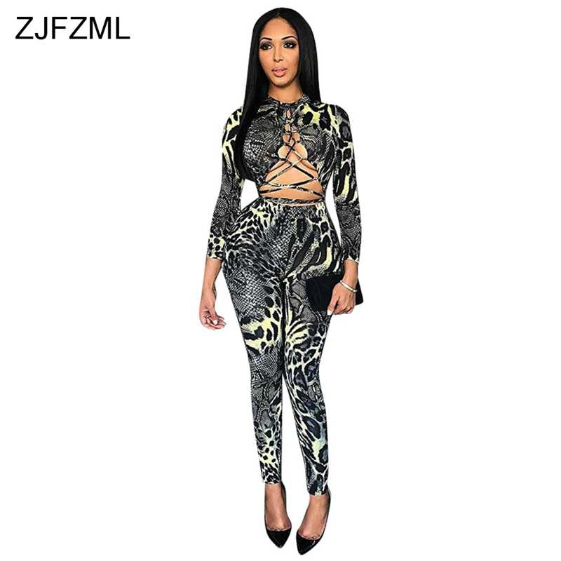 1615d705ca1f ... Snake Skin Printed Sexy Bandage Jumpsuit Women Long Sleeve Lace Up Full  Length Bodysuit Autumn Hollow