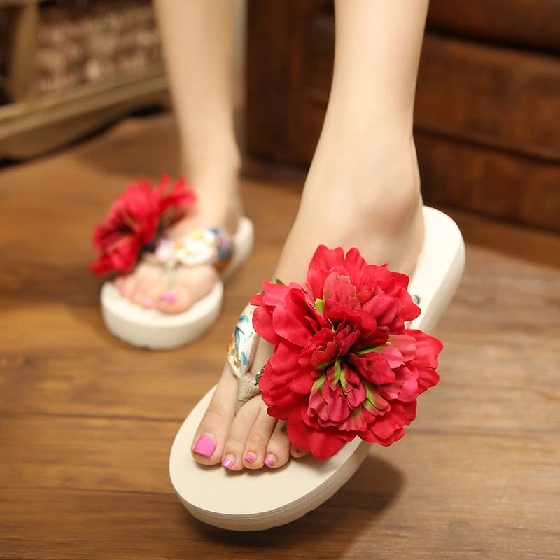 Slippers Women Flowers Flats Sandals Summer Beach Flip Flops Female Fashion Casual Bohemian Slippers Black White