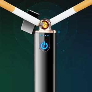 Image 3 - 2018 חדש LED מסך תצוגת סוללה USB אלקטרונית נטענת מצית Winderproof Flameless כפול צד סיגר פלזמה