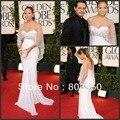 Outono inverno Prom ver através frisado sereia de luxo Jennifer Lopez celebridade vestido de noite