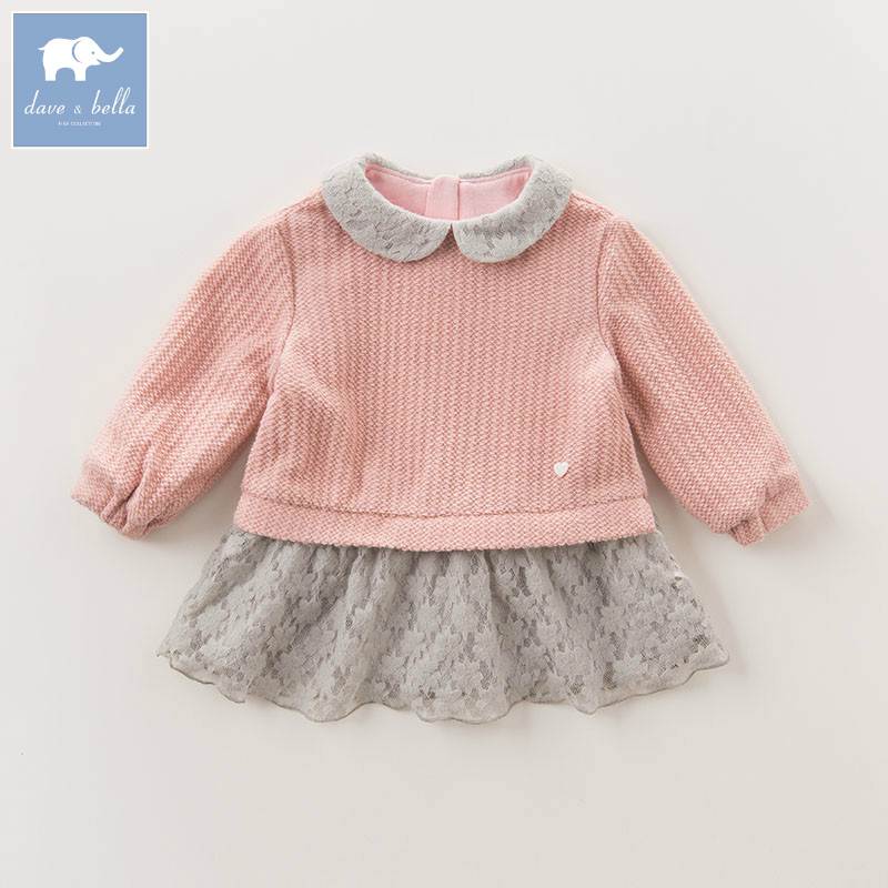 DB5508 dave bella autumn infant baby girls fashion print tee kids cotton lovely tops children toddler high quality clothes peach print tee