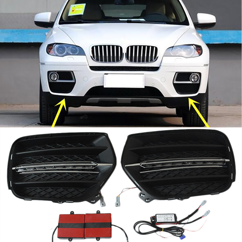 2pcs White LED DRL Daytime Running light Bumper Fog Lamp Covers For BMW X6 E71 2008 2009 2010 2011 2012 2013 стоимость