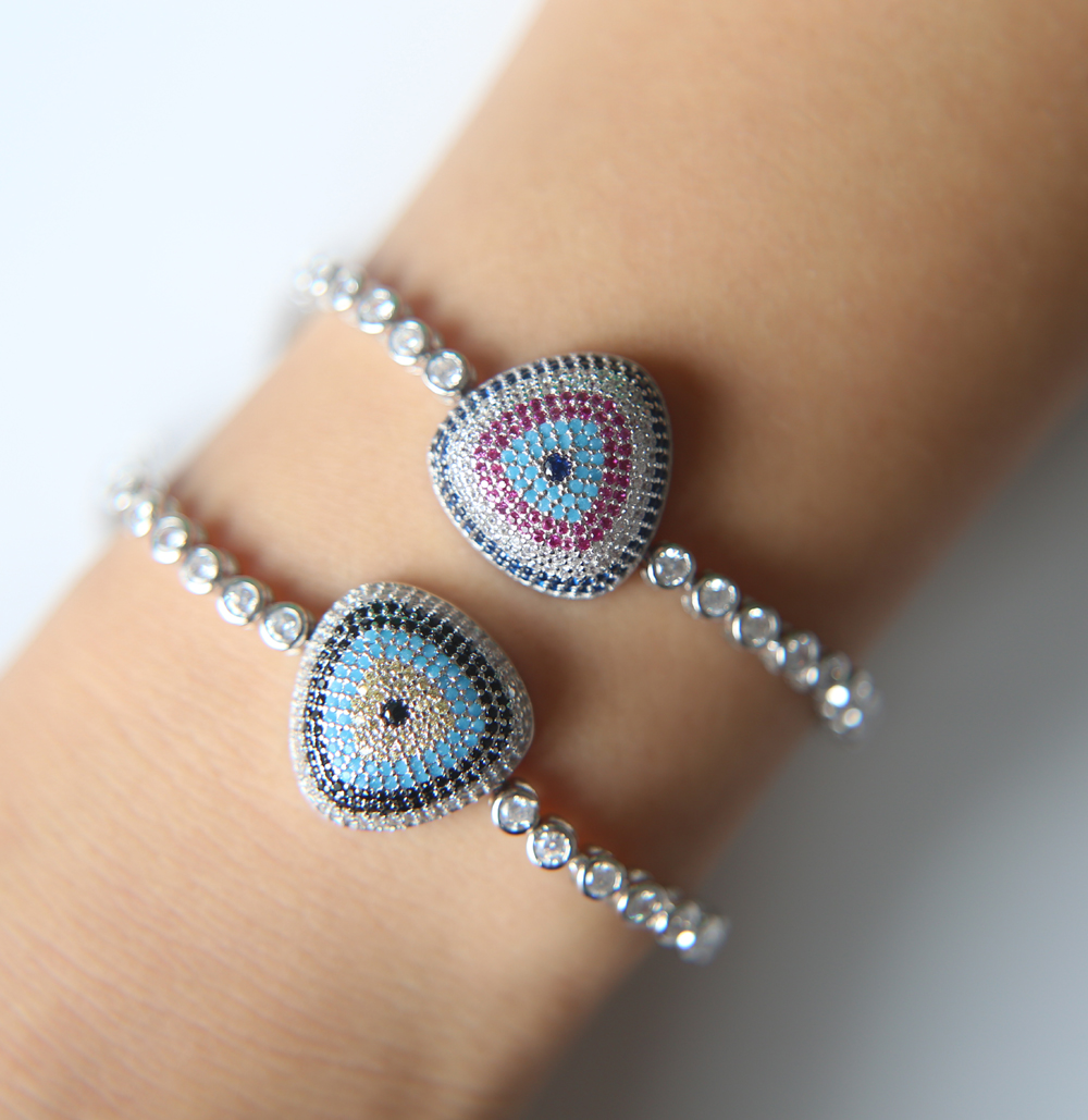 Fashion Jewelry Adjustable silver turkish eye design tennis chain trendy stylish women luxury tennis cz wedding bracelet