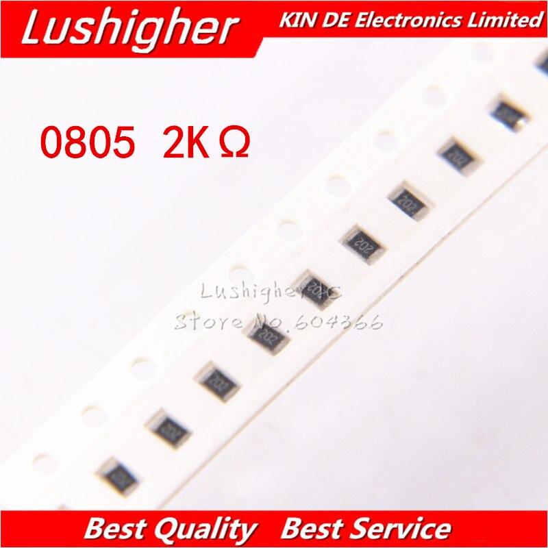 100PCS 0805 SMD Resistor 5% 2K Ohm 202 2001 2.0Kohm 2000ohm