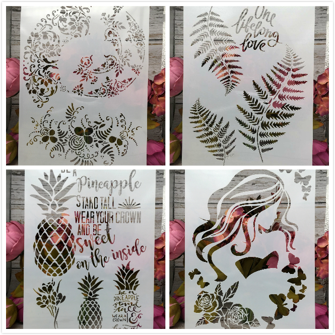 4Pcs/Set A4 Pinapple Leaves DIY Layering Stencils Painting Scrapbook Coloring Embossing Album Decorative Card Template