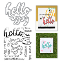 Eastshape Hello Letter Metal Cutting Dies and Stamps Word Scrapbooking New Die Cuts for Card Making Craft Stitch Troqueles