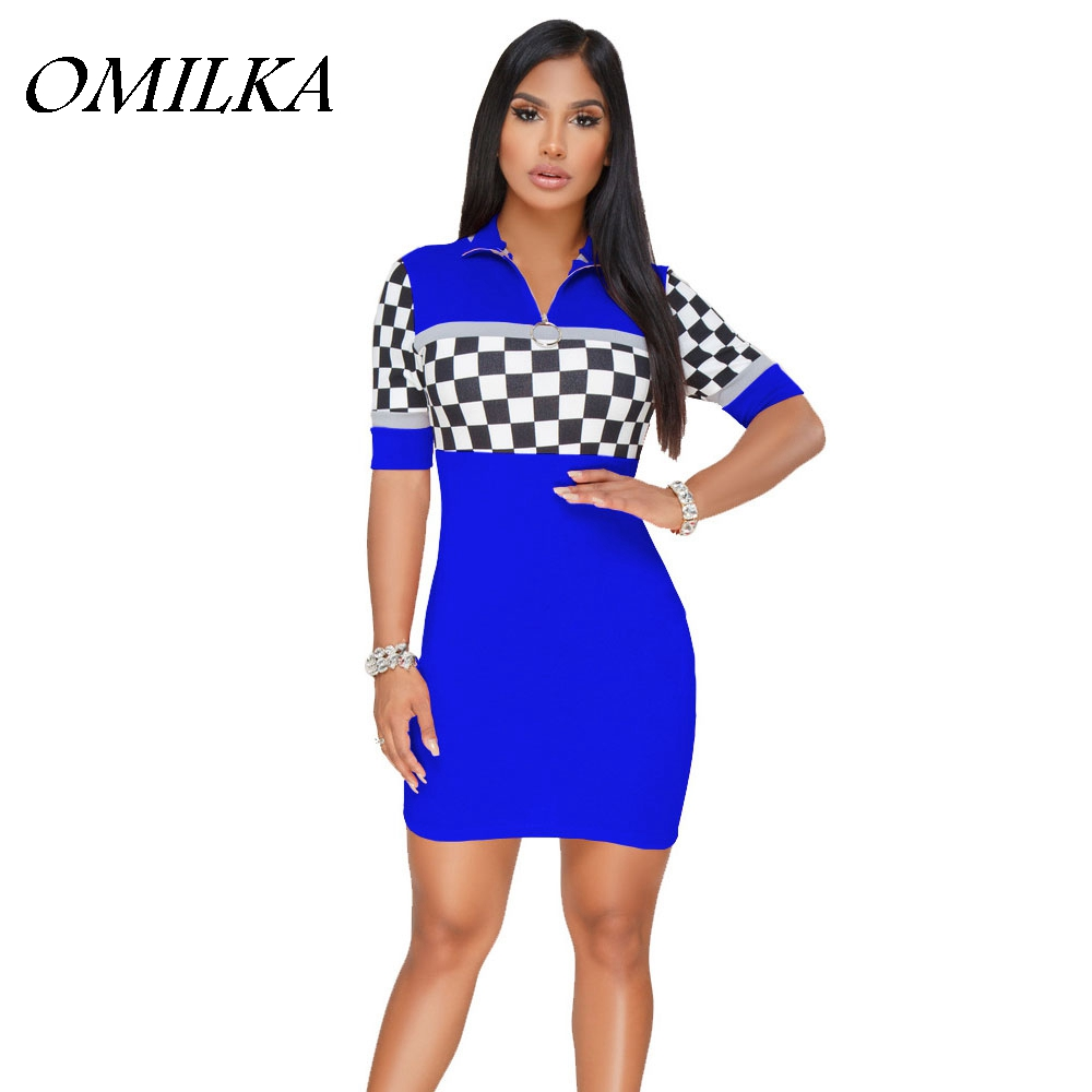 OMILKA T Shirt Dress 2018 Summer Women Short Sleeve Zipper Plaid Hippie Dress Casual Black Blue Red Baseball Racing Mini Dress