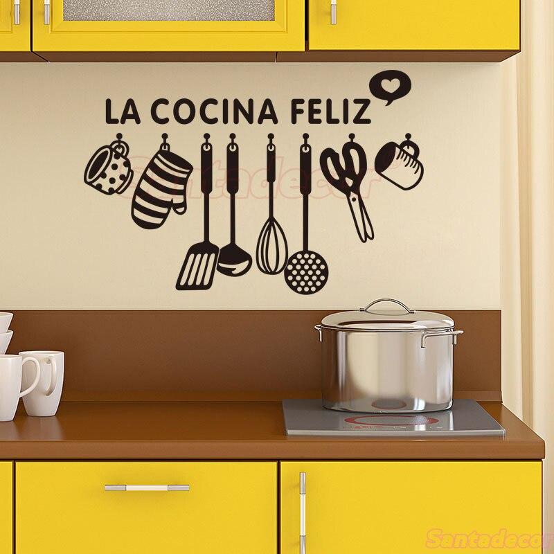 Cuisine espagnole Design vinyle autocollant Mural La Cocina Feliz Mural décalcomanie Art papier peint Cuisine décoration murale décor à La maison affiche
